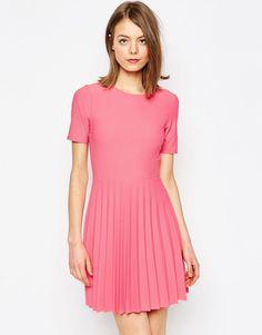 Image 1 ofASOS Textured Pleated Mini Dress