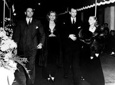 """Henry Fonda, his wife Frances, Jimmy Stewart and Anita Colby attending the premiere of """"Spellbound"""", Hollywood, 1945."""