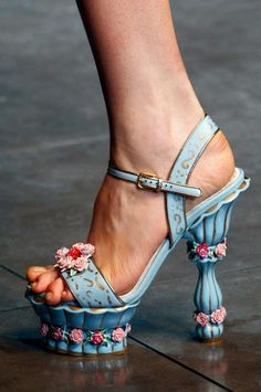 """Dolce & Gabbana Fall 2012. """"Tea cup"""" sandal, ankle strap, floral, stacked heel."""
