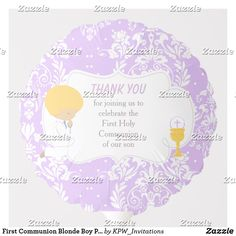 Shop First Communion Blonde Girl Purple Damask Balloon created by KPW_Invitations.