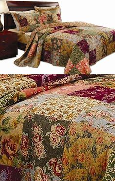 Quilts Bedspreads and Coverlets 175749: Queen Size Quilt Set Comforter Bedspread Bedding Patchwork Luxury Bed Bag Linens -> BUY IT NOW ONLY: $87.95 on eBay!