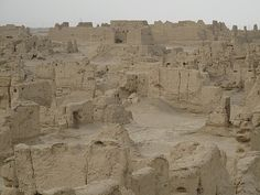 The ancient city of Jiaohe, Turpan, China. Among the earliest settlers of this area are Indo-European speaking Tocharians, populating the Tarim and Turfan basins no later than 1800 BC. It was an important site along the Silk Road trade route leading west adjacent to the Korla and Karasahr kingdoms to the west. Finally abandoned after its destruction during an invasion by the Mongols led by Genghis Khan in the 13th century.