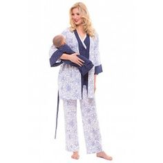 547764422b340 Olian Maternity Flower Dot Nursing Pajama Set for $114.00. Great gift idea  and cute for. TummyStyle Maternity & Baby