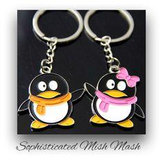 Cute Penguin Lover Keychain Keyring Keyfob by SophisticatedMishMas