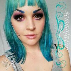 Created using eyeshadows VioletBlueShimmer ,OrchidShimmer DeepOceanBlue ,NeptuneStar,Belle and GetJuiced.  www.starcrushedminerals.com