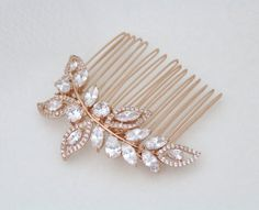 Rose Gold Bridal hair comb, Rose Gold Wedding headpiece, Bridal hair comb, Wedding hair clip, Crystal hair comb, Rhinestone head piece, pins