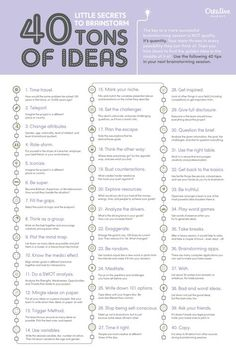 Infographic: 40 Little Secrets To Brainstorm Tons Of Ideas Creative Thinking, Design Thinking, Creative Writing, Writing Tips, Writing Prompts, Critical Thinking Skills, Marketing Digital, Self Improvement, Problem Solving