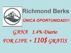 ATENCIÓN, ESTO NO TE LO PUEDES PERDER… DATE PRISA!!!  https://www.youtube.com/watch?v=r3e8xTzc9RY  INVIERTE GRATIS CON REGALO DE $110 EN BONOS POR EMPRESA DEDICADA DESDE HACE 8 AÑOS AL MERCADO DE SUBASTAS DE BIENES RAÍCES!!!  Richmond Berks Ltd. es una compañía que opera en el sector inmobiliario combinando con una ALTA RENTABILIDAD del 1.4% DIARIO DE POR VIDA la subasta, los bienes raíces, el bitcoin y el marketing de afiliado  #inversiones #negocios #subastas #bienesraices #afiliados