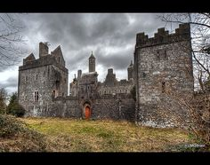 Dromore Castle Ruins, County Limerick, Ireland - Location where exterior scenes from the 1988 movie 'High Spirits' with Peter O'Toole, Daryl Hannah and Steve Guttenberg were filmed.