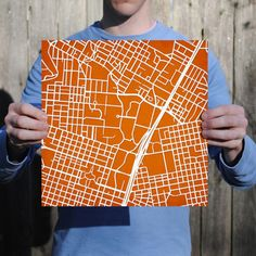 UT Austin college campus map. Cool to hang on the wall as art
