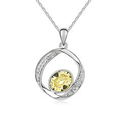 [$4.70] Swarovski Elements Crystal Necklace - I Better (Yellowish 1-776)