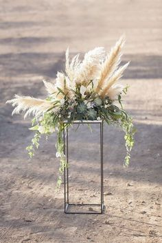 Wedding Trend: 30 Boho Pampas Grass Wedding Ideas Rustic outdoor holiday wedding decor - Photo by Ka Outdoor Wedding Centerpieces, Wedding Flower Arrangements, Ceremony Decorations, Floral Arrangements, Table Decorations, Centerpiece Ideas, Tall Centerpiece, Quinceanera Centerpieces, Rustic Centerpieces