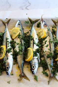 Baked Mackerel (Kolios) with Olive Oil, Lemon and Parsley