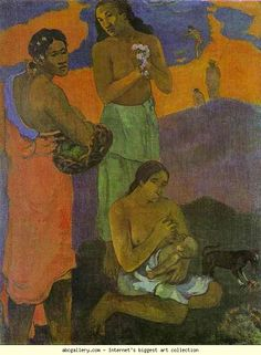 Paul Gauguin. Motherhood (Women on the Shore). Olga's Gallery.