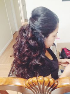 Hair by Jenny Holliday. Wedding updo, bride, half up, half down, hairstyle, long hair, brown hair