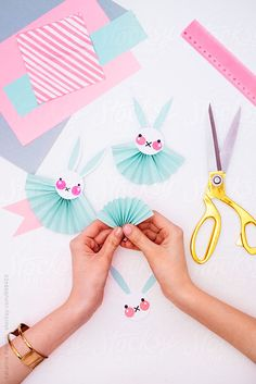 Woman Making Easter Bunny Rosettes As an Easter Decoration by Katarina Radovic f. - Woman Making Easter Bunny Rosettes As an Easter Decoration by Katarina Radovic for Stocksy United - Easter Arts And Crafts, Holiday Crafts For Kids, Diy Arts And Crafts, Spring Crafts, Diy For Kids, Paper Rosettes, Origami Paper Art, Scrapbook Embellishments, Easter Bunny