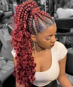 We have found the best Cute African Cornrow Braided Styles Ponytails To Try In Here we have long cornrows with a trendy braided pattern. The pattern looks wonderful and that we love the look. Cornrow Braid Styles, Cornrow Ponytail, Braided Ponytail Hairstyles, Braided Hairstyles For Black Women, Ponytail Styles, African Braids Hairstyles, Braids For Black Hair, Protective Hairstyles, Braids Hairstyles Pictures