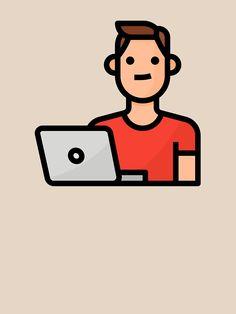 """Geek Laptop Digital Nomad Boy Hobby Avatar"" T-shirt by passionemporium Avatar Cartoon, Digital Nomad, Tshirt Colors, Cute Boys, Classic T Shirts, First Love, Geek Stuff, Laptop, Animation"