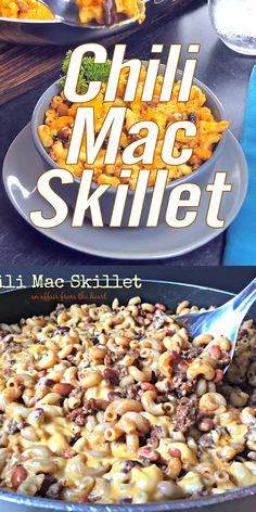 This Chili Mac Skillet is a quick and inexpensive meal. Macaroni, ground beef, pinto beans, canned or your own leftover chili and cheese. A childhood family favorite! Budget Freezer Meals, Frugal Meals, Quick Meals, Chicken Pasta Recipes, Beef Recipes, Cooking Recipes, Lasagna Recipes, Budget Recipes, Casserole Recipes