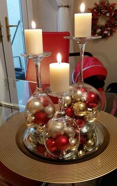 Dollar Store Christmas Table Centerpieces - Wine Glass Candle Holders - Recycled Christmas Decorations - Dollar Store Christmas Table Centerpieces - Wine Glass Candle Holders Wine glasses as candle holders