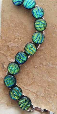 Dichroic Glass Link Bracelet in sparkling colors by 3DGlassDesigns