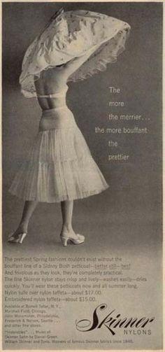 Tulle petticoat in realistic proportions. Retro Lingerie, Lingerie Photos, 1950s Fashion Women, Vintage Fashion, Women's Fashion, Vintage Advertisements, Vintage Ads, Vintage Sewing, Ropa Interior Retro
