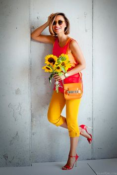 colorblock outfit in warm colors with orange Proenza Schouler Ps11  by GalantGirl.com