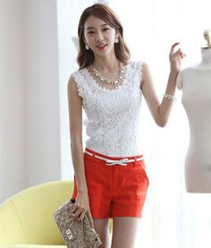 0ad0733eb8f Plus Size XXXL 2015 Summer Women Lace Blouse Casual Blusas Femininas  Vintage Sleeveless White Renda Crochet Shirts Top 8562