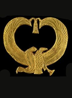 Gold amulet from Psusennes I's mummy. Egyptian national Museum. A bird-serpent with wings.