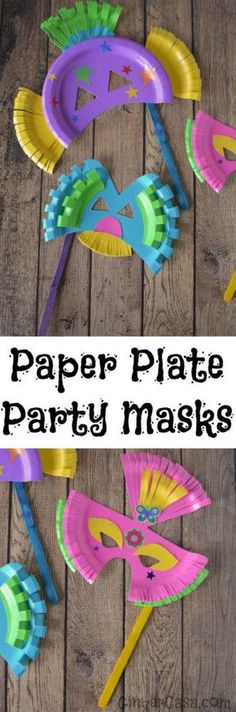 Let your kids' imaginations run wild with this fun craft! Use colored paper plates to create party masks and have a blast making them! #artsandcraftswithpaper,