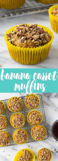 Banana Carrot Muffins - a cross between banana muffins and carrot cake these muffins are a healthy alternative to a sugary breakfast full of flavor light and moist they ll be your favorite all week long if they last that long Banana Carrot Muffins, Chocolate Banana Muffins, Chocolate Chips, Banana Bread, Gourmet Recipes, Baking Recipes, Cake Recipes, Brunch Recipes, Breakfast Recipes