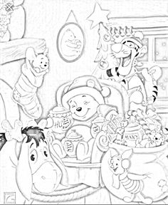Disney Coloring Pages, Colouring Pages, Adult Coloring Pages, Coloring Pages For Kids, Coloring Books, Colorful Drawings, Colorful Pictures, Christmas Colors, Christmas Fun