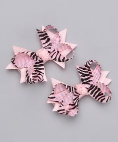 Take a look at this White Zebra Clip Set by Bitty Bop Bows on #zulily today!