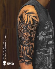 Leopard Tattoo for men on sleeve at Aliens Tattoo India. Visit the link given below to see our more Animal Tattoos. Eagle Tattoos, Wolf Tattoos, Life Tattoos, Tattoos For Guys, Alien Tattoo, Tiger Tattoo, Unique Animal Tattoos, Animal Tattoos For Men, Leopard Tattoos