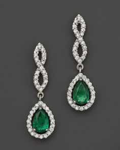Bloomingdale's Emerald and Diamond Open Weave Pear Shaped Drop Earrings in 14K White Gold on shopstyle.com