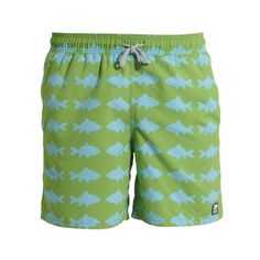 Green and Blue Fish Swim Shorts