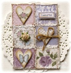 "Such a Pretty Mess: June ATC Theme ""Collage"" {Dusty Attic Challenge} Gabrielle Pollacco Shabby Chic Karten, Shabby Chic Cards, Atc Cards, Card Tags, Tag Craft, Heart Cards, Artist Trading Cards, Quilting Designs, Quilt Design"
