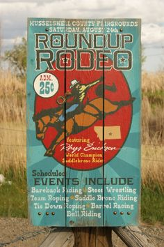 Custom Handpainted Barnwood Rodeo Sign perfect for by bighornsigns, $95.00
