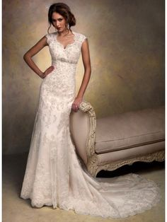 Modest Sheath / Column Court Train Lace Vintage Wedding Dresses 801065
