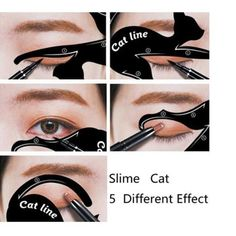 1 set = 2 pcs x Cat Eyeliner Card. 6 pcs x Cat Eyeliner Card. Use your eye shadow first to create the shape then set the look with liquid eyeliner or your eye pencil. Cat Eyeliner Card Size: 7 x cm, x cm. Cat Eye Stencil, Cat Eyeliner Stencil, Eyebrow Stencil, Makeup Stencils, Eyeliner Hacks, How To Apply Eyeliner, Winged Eyeliner, Bold Eyeliner, Eyeliner Brands