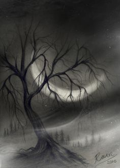 Tree in charcoal by wyldraven.deviantart.com on @deviantART