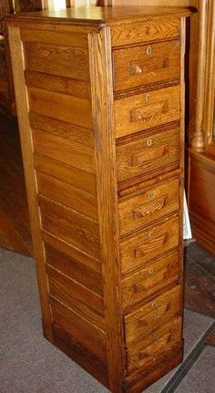 166 Two-Drawer Oak File Cabinet with Raised Side Panels   Drawers ...