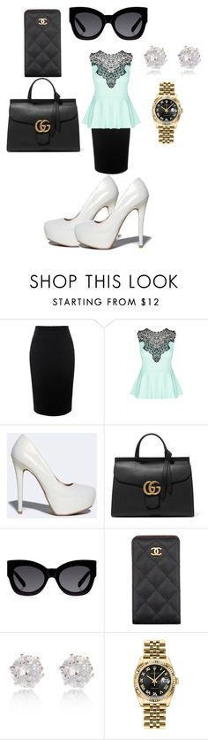 """""""Posh"""" by sammyc4 ❤ liked on Polyvore featuring Alexander McQueen, City Chic, Qupid, Gucci, Karen Walker, Chanel, River Island, Rolex, women's clothing and women's fashion"""