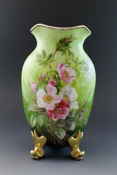 This listing is for a century French Limoges porcelain footed vase signed by the artist. It has 4 scrolled feet with heavy applied gold, the body is thin and wide with a short neck and flared rim Vintage Plates, Bottle Vase, China Painting, Trinket Boxes, Flower Arrangements, Beautiful Flowers, Glass Art, Perfume Bottles, Hand Painted