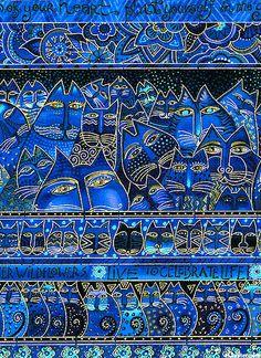 Fabulous Felines - Encouraging Cats Stripe - Midnight Blue/Gold, by Laurel Burch