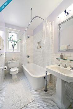new york city prewar apartment bathroom after - Wohnung - Bathroom Decor Classic Bathroom, Modern Bathroom, Small Bathroom, White Bathroom, 1920s Bathroom, Master Bathroom, Master Baths, Minimalist Bathroom, Small Narrow Bathroom