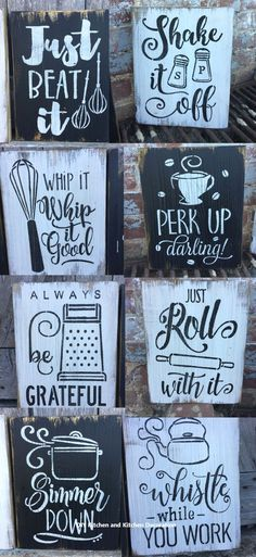 Details about Rustic Wood Signs - The Cute Kitchen Collection - 10 - Free Color Customization - Ah I love these funky yet rustic kitchen signs! I want one of each have a kitchen gallery wall! Rustic Wood Signs, Rustic Wall Decor, Rustic Walls, Country Decor, Rustic Wood Crafts, Wooden Pallet Crafts, Rustic Entry, Pallet Wall Decor, Rustic Art