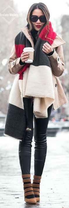 Layered Peacoat & Striped scarf // Fashion Look by Wendy's Lookbook