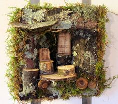 Sculpted Woodland Fairy House 3D Wall Art by BetweenTheWeeds, $75.00 SOLD
