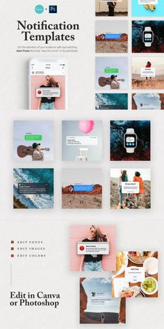 This collection of Notification Templates for Social Media makes it easy to capture attention WITHOUT having to be a seasoned designer. Swap out the colors, photos, and fonts from CANVA or Photoshop. #AffiliateLink Twitter Template, Edit Font, Image Editing, Fonts, Photoshop, Social Media, Templates, Colors, Easy